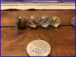Rare Vintage Antique Lot Of 12 German Swirl Marbles Rough Condition