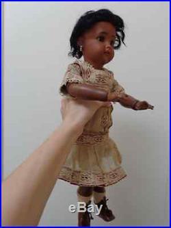 Rare antique black doll Mulatto doll brown bisque original antique dress