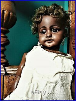 Rare antique black doll mulatto doll brown bisque Dep Simon Halbig 739