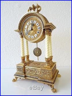 SCHMID German Gilded Mantel Shelf Pillar Clock 8 day Mid Century Vintage Antique