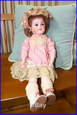 Simon & Halbig Antique German Bisque Doll jointed 20 inches pink dress