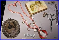 Small Sewing Chatelaine Antique Sterling Filigree Chatelaine Brooch, German Ster