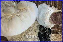 Sonneberg Germany Domed Head Mystery Doll Almond Eyes Fashion Body Taffeta Gown