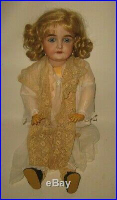 Stunning 1900's German JDK Kestner 164 Bisque Head Doll 25 tall Blue Eyes