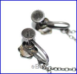 Stunning Art Deco German Sterling Lapis Filigree Earrings, Antique Vtg 1920s