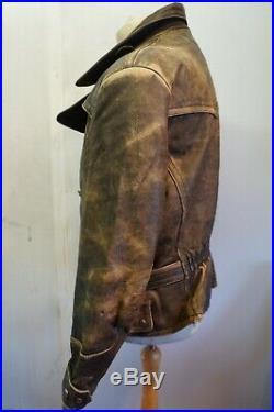 VINTAGE 80's DISTRESSED HEIN GERICKE LEATHER JACKET SIZE 54 UK M GERMAN TANKER