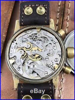 VINTAGE WW2 Glashutte Tutima Luftwafte Pilots Watch German Military Chronograph