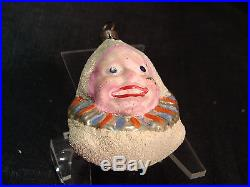 VTG Antique German Clown Joker Jester Faced Mercury Glass Christmas Ornament