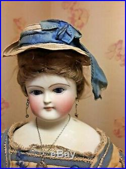 Very Rare All Original 17 Glass Eyed Wigged Parian Curled Hands. Must See