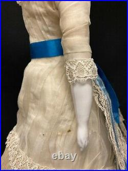 Very Rare Antique German China Doll with Blonde Fancy Hair and Pierced Ears