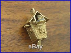 Vintage 14k gold ANTIQUE GERMAN CUCKOO CLOCK BIRD HOUSE MOVABLE PENDULUM charm