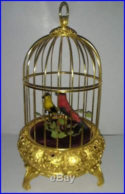 Vintage Antique German Automation Double Bird Singing Jeweled Birdcage Music Box