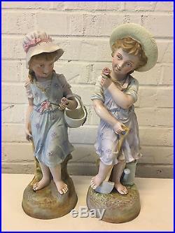 Vintage Antique German Dresden Area Bisque Porcelain Pair Large Figurines Girls