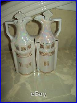 Vintage Antique German Lusterware With Gold 14 Piece Canister Set Germany