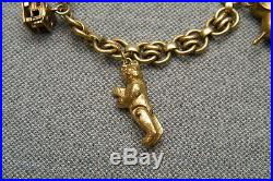 Vintage Antique German Silver 800' Charm Bracelet Charms Rare