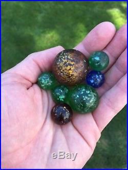 Vintage Antique Marbles Collection German Swirl Fancy Bennington Mica Sulphide
