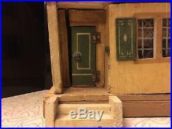 Vintage GOTTSCHALK 1920s German Dollhouse Original Red Roof 1-Room Tiny Cottage