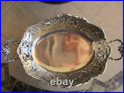 Vintage German 930 Sterling Silver & Cherubs Repousse Footed Oval Centerpiece