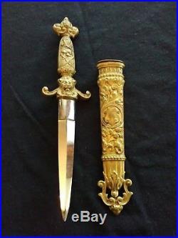 Vintage German Romantic Bronze Dagger Knife Sword WithScabbard Old Antique Rare