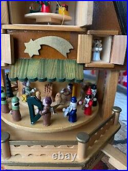 Vintage German Weihnachts Pyramid Christmas 3 Tier Candle Carousel Windmill