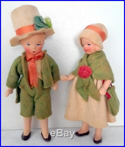 Vintage Hertwig 4 Bisque Dollhouse Doll Lot IRISH & TYROLEAN Small Antique