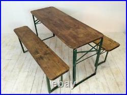 Vintage Industrial German Beer Table Bench Set Garden Customised Length