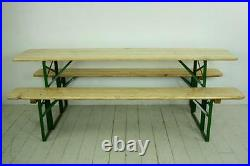 Vintage Industrial German Beer Table Bench Set Garden Furniture Blonde Finish