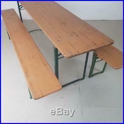 Vintage Industrial German Beer Table Bench Set Garden Furniture Burnt Orange