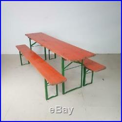 Vintage Industrial German Beer Table Bench Set Garden Furniture Orange