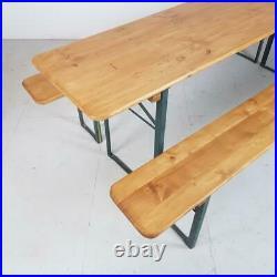 Vintage Industrial German Beer Table Bench Set Sanded & Waxed Garden Furniture