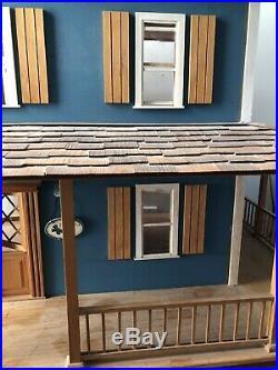 Vintage Large Wood Dollhouse Handmade German Farmhouse Swivel Base