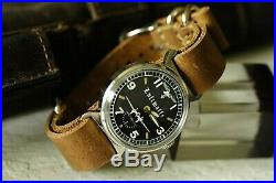 Vintage Pobeda WWII german fighter Rare Watch Military wristwatch leather strap