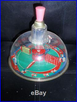 Vintage antique East West German Russian toy spinning top metal tin WITH BOX