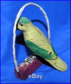 Vtg 1920's Antique German Folk Art Xmas Ornament, Composition Parrot On Swing
