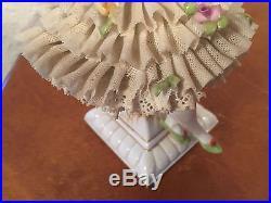Vtg Antique German Ernst Bohne Porcelain Lace Seated Ballerina with Fan Figurine