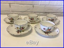 Vtg Antique German Nymphenburg Porcelain Set 5 Cups & Saucers w Painted Flowers