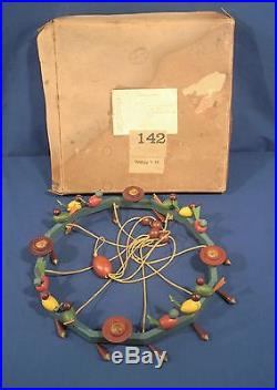 Vtg Antique German Pre WWII Wooden Candle Holder Birds Erzgebirge Original Box