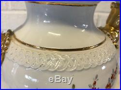 Vtg Possibly Antique German Meissen Porcelain Urn Lamp Snake Floral Decoration