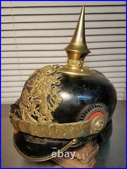 Vtg WW1 Helmet German Bavarian Pickelhaube Imperial Leather Spiked Antique brass