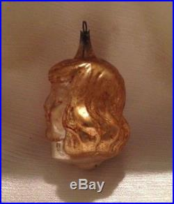Vtg antique German xmas ornament head Germany glass buster brown face bulb