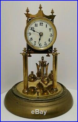 Vtg c1910 Jahresuhrenfabrik Brass Glass Domed German 400 Day Anniversary Clock