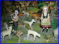 ZINNER & SOHN MUSIC BOX with DANCING GLASS EYE DOLLS & ANIMALS & BACKGROUND